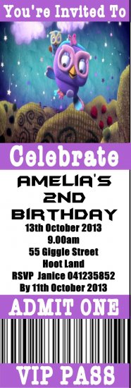 GIGGLE AND HOOT 9 TICKET INVITATION