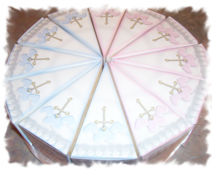 Blue Cross Christening Cake Slice Favour Boxes